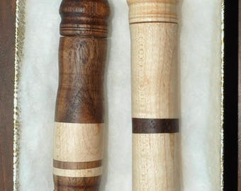 Hand made mixed wood needle cases