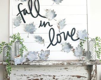 Handwritten Fall in Love MDF Word Cutout