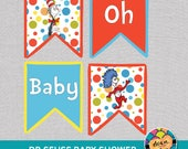 """Dr. Seuss Baby Shower Banner. """"Oh Baby"""" Banner *INSTANT DOWNLOAD*"""