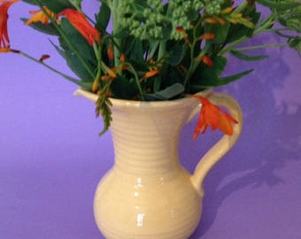 1930's Lovatt's yellow ribbed jug, pitcher or vase