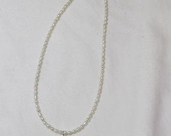 Seed bead genuine pearl and pearl drop necklace