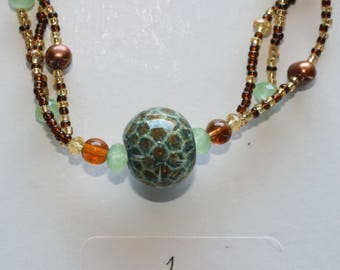 Unique Venetian Murano Glass Green Brown Necklace