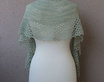 minty green handknit shawl made with 100% handdyed merino wool, crescent scarf with lace border, OOAK, gift for her