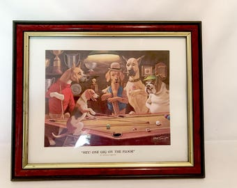 "Vintage Framed Matted Arthur Sarnoff Dog Art Print ""Hey! One Leg On The Floor"" Dogs Playing Pool Billiards- Beagle Boxer Great Dane Bull Dog"