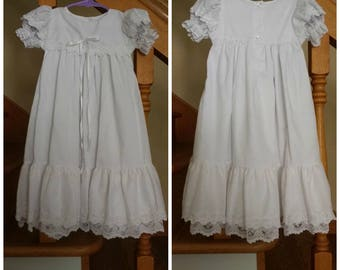 Christening Gown - White Baby Dress - Long Christening Outfit - Lace Layers - Matching Bonnet - Puffy Sleeve - VGC - Sz 3 mo, 10 to 13 lbs.