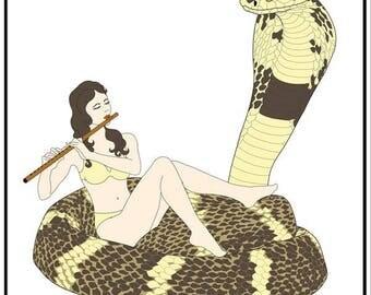 Entertaining Royalty ~ King Cobra Greeting Card ~ Blank Inside