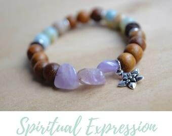 Spiritual Woman Gift / yoga gift for mom, bff bracelet gift, treat yo self, gift for bestfriend, amethyst bracelet, amazonite bracelet