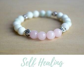 Serpentine and Rose Quartz Bracelet / sister in law gift, simple bracelets, energy bracelet, gift for bestfriend gift, gifts for women 2017