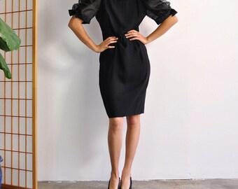 Puff Sleeve Dress, Sheer Sleeve Dress, Strong Shoulder Dress, Vintage Black Dress, 80s Bow Sleeve Dress, Minimal Black Dress