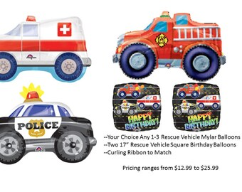 Rescue Vehicle Mylar Balloons, Ambulance Balloon, Fire Truck Balloon, Police Car Balloon