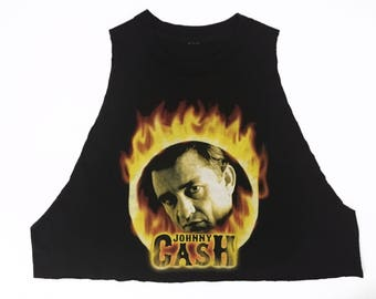 80s Vintage Johnny Cash Man in Black Ring of Fire Crop Tank Top
