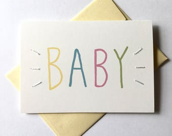 BABY! Hand Stitched Greeting Card. Baby Card.