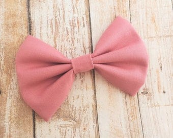 Mauve, Pale Pink Fabric Hair Bow Clip or Headband / Mauve Pink Bow / Pale Pink Bow Clip / Pink Bow Headband / Baby Bow Headband / Pink Bow