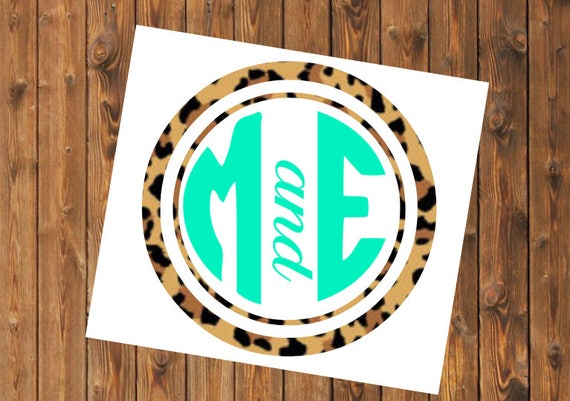 Free Shipping-Leopard Monogram Decal, Lilly Pulitzer inspired monogrammed decal sticker, Personalized,Cooler,Yeti, Laptop,Monogram Sticker