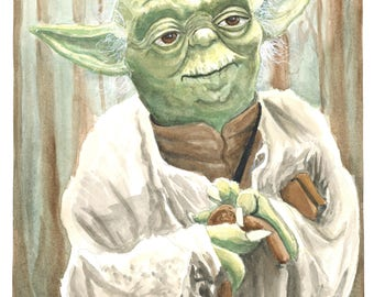 Yoda Watercolor Print.