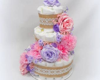 Floral Diaper Cake - Diaper Cake - Baby Shower Centerpiece - Girl Diaper Cake - Flower Diaper Cake