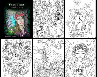 adult coloring ,FAIRY COLORING PAGE #2 ,...5 page set,pdf,printables