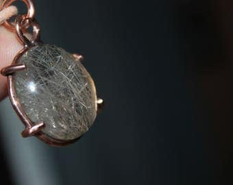 silver rutilated quartz pendant with recycled copper