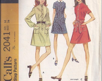 Vintage McCalls Pattern #2041 from 1969 Retro Shirtdress Sewing Pattern. Bust 36,