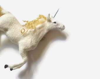 Felted Unicorn Art doll animal Mythical creature OOAK Needle Felt animal sculpture Miniature animal figurine