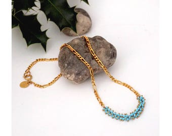 Gold chain & seed turquoise beads necklace