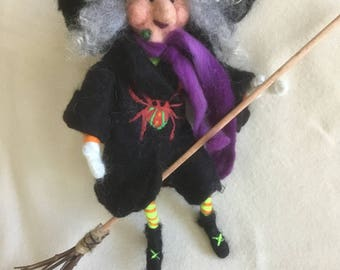 Needle Felted Witch on Broom