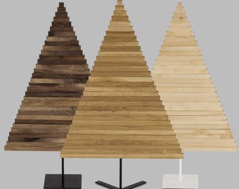 WOODEN CHRISTMAS TREE / 69 inch - 175 cm / Oak, Maple & Walnut wood / Square stand / minimal, modern design / contemporary