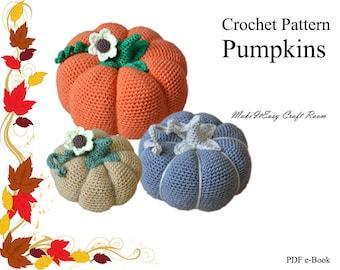 Autumn pumpkins crochet pattern Crochet stuffed pumpkins Fall crochet decor Harvest gourd ornament Thanksgiving table decor Digital download