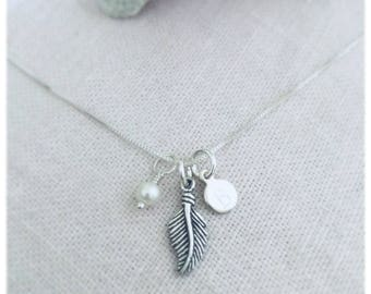 Custom Guardian Angel & Fresh Water Pearl Necklace, Angel Feather Necklace