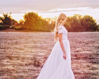 Capped Sleeves boho wedding dress/ bohemian wedding dress/ lace wedding dress/ backless wedding dress /boho bridal gown / Rose