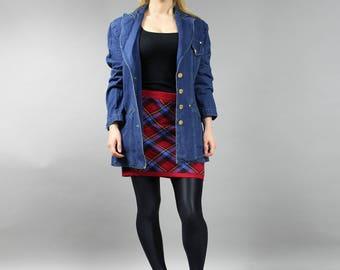 80s Navy Blue Denim Lapel Collar Jacket . Vintage Oversized Grunge Denim Duster . Midi Boyfriend Jean Blazer . Grunge Denim Jacket / M