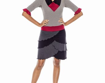 Bamboo French Terry and Knit Petal Dress :Ready to Ship Sz. Small Stretch Eco Friendly Organic Layered Skirt Stripes Black and Grey