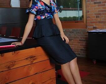 The Pillar Pencil Skirt with Peplum in Charcoal Denim Detail Sz. 4 :Ready to Ship High Fashion Streetwear