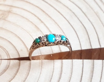 Victorian 18ct Turquoise and Diamond Ring, Antique c1837