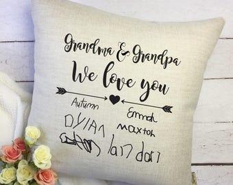 Gift for Grandparents - Personalized Grandchildren Pillow Cover - Personalized Grandparents Gift - Custom Signature Pillow - Grandchildren