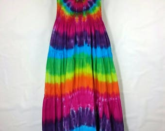 Tie dye dress, Women's dress, Long hippy dress, Women's summer dress, Maxi dress, Festival clothing, Gypsy style dress, Maxi dress UK 14