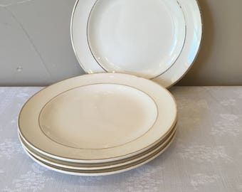"""Homer Laughlin China, Vintage, 4-6 inch Bread and Butter Plates, """"Diplomat- Rim"""" Pattern #1409, Egg Shell with Gold Verge Line Gold Trim"""
