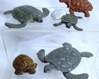 5 Turtle Tortoise Model Bundle Vintage AAA Models Ocean Creatures Sea Turtles Tortoise Hatchling Retired Solid Models Baby Turtle Schleich