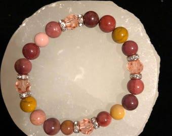 Mookaite & Swarovski Crystal Healing Gemstone Bracelet