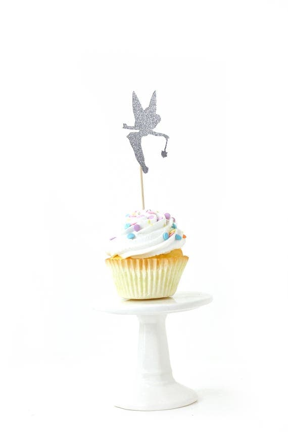 Tinkerbell Silver Glitter Cupcake Toppers, Silver Tinkerbell Toothpicks, Silver Party Decor, Food Decoration, Disney Party Decor, Fairytale