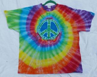 Adult 2XL peace sign tie dye, size xxl, tie dye tshirt, tie dye shirt, tie dye top, green peace sign tie dye, festival shirt, Hippie shirt,