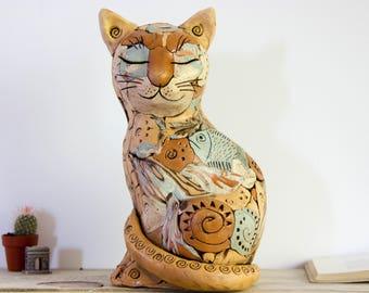 Ceramic Cat Sculpture | Home Decor | Cat Art Statue | Cat Lovers Gift | Cat figurine | Home decoration | Animal totem | Cat statue | Kitten