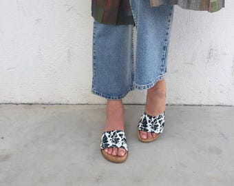 Cork wedge flats Donna Karen, flip flops, wedge monogram slippers, DKNY flat slippers, wedge cork flips flops women size Usa 6 EU 37 UK 4