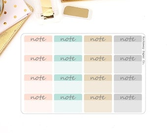 Note Small Rectangle Stickers - Soft Colors