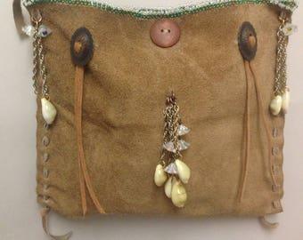 Beaded leather bag mountain man hippie burning man gypsy boho