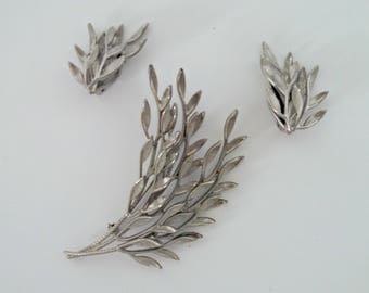 Vintage Brooch and Clip Earrings Set, Silver Tone Leaf Branches, Demi Parure, NEVER WORN, Circa 1940s, Includes Gift Box