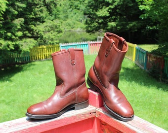 Vintage Mason Western Men's Chestnut Brown Leather Pull On Logger Motorcycle Engineer Boots Size 11.5 E--Made in The USA
