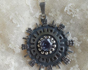 Sterling silver vintage amethyst ornate artist pendant with Sterling silver chain