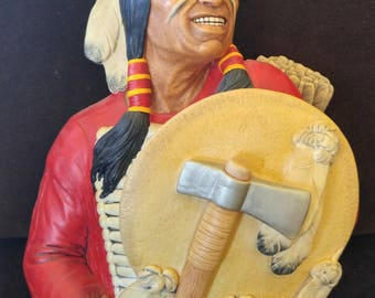 Cheyenne | Vintage Bossons Wall Mask Made In Congleton, England | Hand Painted Chalkware Figure Produced in 1970 | Red Jacket