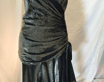 Vintage 70s 80s Black and Silver Metallic Strapless Cocktail Dress Katy's Kloset Tagged Size 5/6